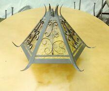 Vtg Gothic Chandelier MOE LIGHT FIXTURE Spanish Revival Amber Glass