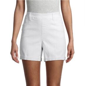 Time And Tru Women's Size XL 16-18 High Rise White Denim Shorts