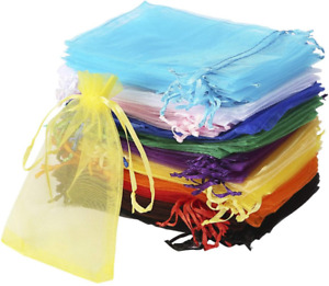 100PCS Organza Bags with Drawstring for Wedding Jewelry Party Gift Candy Sachet