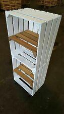 2 x weiße Schuhregal Kiste mit Mittelbrett Natur hochkant Obstkisten  Weinkiste