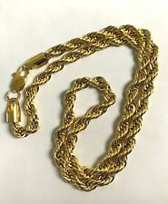 18K Gold Plated Rope Chain Necklace   WARRANTY 6 MM Width , 24 inch long