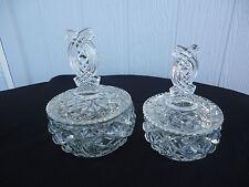 2 vintage art deco depression glass crystal vanity trinket dishes