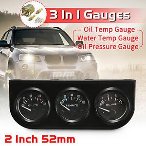 2'' 52MM LED 3 in1 Car Pointer Gauge Kit - Oil Temp + Water Temp + Oil Pressure