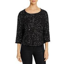 Eileen Fisher Womens Black Silk Sequined Dress Top Blouse XXS 2486