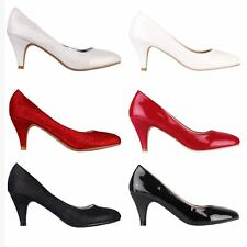 Womens Ladies Fashion Mid Low Kitten Heel Courts Shoes Office Party Pumps 3-8