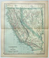 Original 1895 Map of California & Nevada by Dodd Mead & Company. Antique