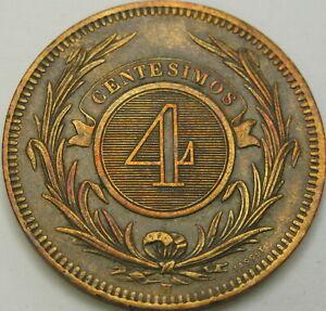 URUGUAY 4 Centesimos 1869H - Bronze - VF/XF - 1581 ¤