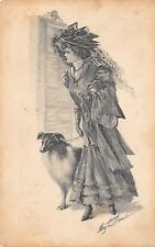 VTG 1910 POSTCARD VICTORIAN LADY COLLIE DOG WOMAN HIGH FASHION ARTIST SIGNED B17