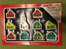 Country Village Mini Blow Mold Houses with light cord & 10 buildings Church work