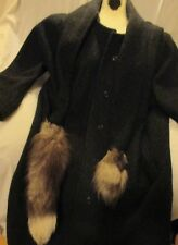 CAPRI PETITES Womens Cape Coat Cloak  Wool Fox Fur Tails Vintage Charcoal Gray S