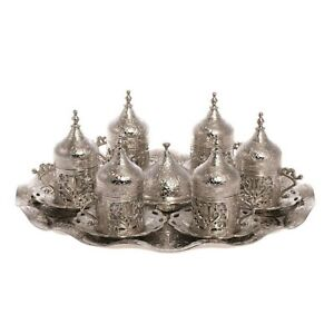 Ottoman Turkish Silver Metal Tea Coffee Saucers Cups Tray Set - Over 300+ SOLD!!