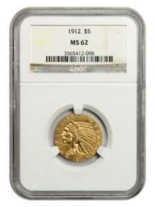 1912 $5 NGC MS62 - Indian Half Eagle - Gold Coin - Great Type Coin