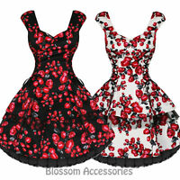RKH48 Hearts and Roses H&R Rose Rockabilly Dress Pin Up Vintage 50s Party Swing