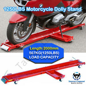 567kg Heavy Motorcycle Motorbike Dolly Mover Loader Parking Stand-Red