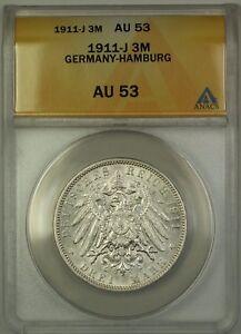 1911-J Germany-Hamburg 3M Three Marks Silver Coin ANACS AU-53