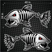 "2 48"" Digital Skeleton Fish Vinyl Decals for Boat Fishing graphics Bone sticker"