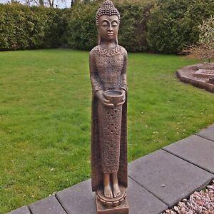 Steinfigur stehender Buddha schmal Shiva Göttin Stein Steinguss Farbe Bronze H67