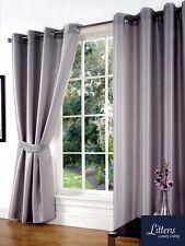 "90"" x 90"" Silver Faux Silk Pair Curtains Eyelet, Ring Top, Lined Inc Tiebacks"