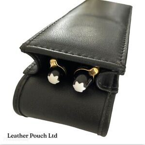 Black Real Leather Double/Twin/Two Magnetic Flap Pen Case/Pouch/Holder.Hand made