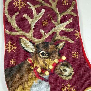 Needlepoint Christmas Stocking Reindeer & Snowflakes on Burgundy & Red NICE!