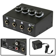 """4-Channel Portable Headphone Amplifier Amp 1/4"""" 6.35mm TRS RCA + AC Adapter"""