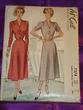 40s Vintage V Neck Dress w Flared Skirt 2 Vws CMPLT McCall Pattern 7374 Bust 34