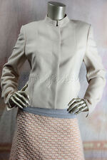 $2990 New AKRIS Natural Light Tan Beige Wool Crop Jacket 10 40