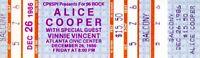 ALICE COOPER 1986 NIGHTMARE RETURNS TOUR UNUSED CONCERT TICKET VINNIE VINCENT~