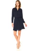 Rebecca Taylor Women's Tie Waist Cinched Neckline Fluffer Hem Silk Black Dress