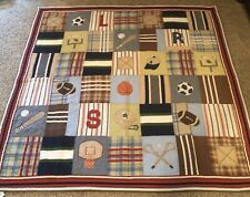 Pottery Barn Kids Quilt 86 X 86 And Sham Sports Football Baseball Madras