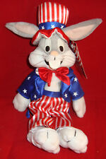 WARNER BROS STUDIO STORE-BUGS BUNNY UNCLE SAM-11 INCH BEAN PLUSH-NEW/TAGS-1999