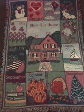 Bless Our Home Calendar Months Holidays Afgan Throw Blanket 44Wx64L