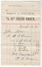 [57739] 1891 INVOICE FROM A. BROWN BREAD MAKER IN WEST HAVEN, CONNECTICUT