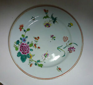 """Chinese Export 18thC Porcelain Famille Rose Plate with Flowers 9"""""""