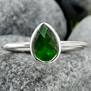 Faceted Natural Chrome Diopside 925 Sterling Silver Ring s.10 Jewelry E476