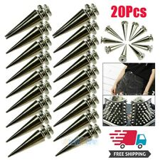 20Pcs 26mm Silver Spots Cone Screw Metal Studs Leather Craft Rivet Bullet Spikes