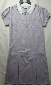 M&S Girls' Gingham Pleated School Dress Regular Fit Lilac 13-14 Years