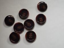 8pc 20mm Walnut & Umber Brown Mock Horn Suit Cardigan Knitwear Baby Button 5612