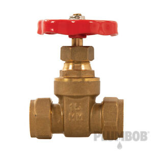 Gate Valve Durable Brass Construction with Compression Fittings 15mm