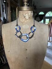 ALEXIS BITTAR SILVER TONE BLUE LUCITE WAVY LINK CIRCLE NECKLACE