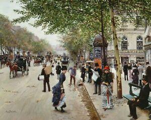 Jean Beraud Paris Street Scene Fine Art Print on Canvas Giclee Painting Small