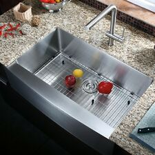 """33"""" Apron Front Stainless Steel Single Bowl Farmhouse Kitchen Sink Combo"""