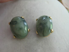 Large Oval Gold Tone Clip Earrings Estate Costume Joan Rivers Green Marbled