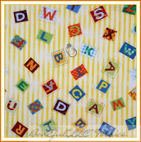 BonEful Fabric FQ Cotton Quilt Yellow White Baby Boy Girl Letter Alphabet Stripe