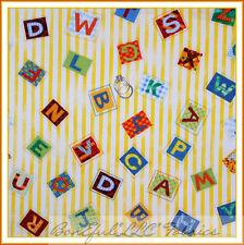 BonEful Fabric Cotton Quilt Yellow White Letter Alphabet Stripe Kid Mask I Scrap