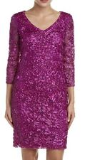 Size 0 *  SUE WONG  Magenta Sequin EmbellIshed Beaded Embroidered Cocktail Dress