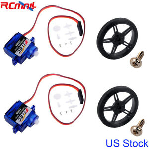 2x Feetech FS90R 360 Degree Continuous Rotation Micro Servo + RC Wheel US Stock