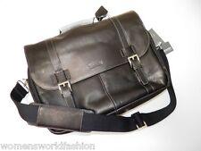 Kenneth Cole Reaction Briefcase Black Leather Laptop Bag Flap Brief Messenger
