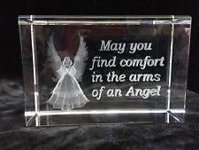 """3D Lazer Etched Crystal Cube Paperweight """"May You Find Comfort . . """""""