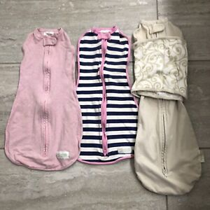3 WOOMBIE BABY SWADDLE Sleep Sacks 0-3 Months Pink Striped Wrap & Snap